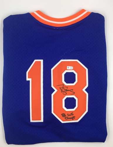 "Photo of Darryl Strawberry ""86 WSC "" Autographed Mets Jersey"