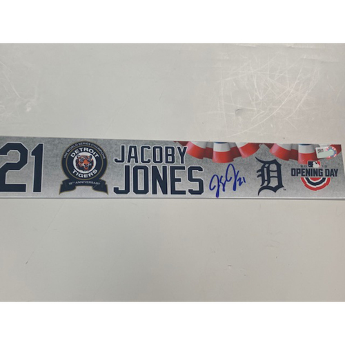Photo of Autographed 2018 Opening Day Locker Name Plate: JaCoby Jones