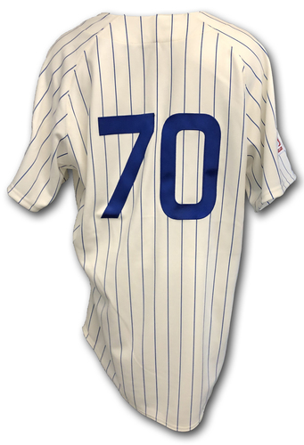 Photo of Joe Maddon Game-Used 1969 Uniform -- Reds vs. Cubs -- 7/16/19