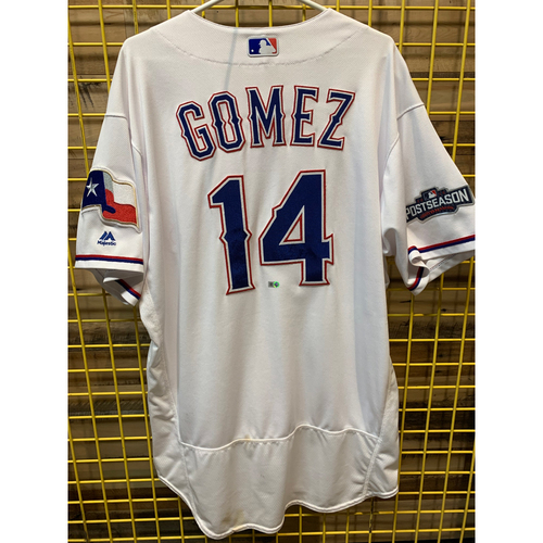 Photo of Carlos Gomez Game-Used White Texas Rangers Jersey Worn On 8/25/16 and 8/31/16 - Homered Off Felix Hernandez in 8/31 Game