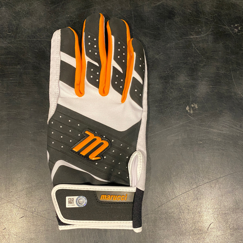 Photo of 2021 Team Issued White, Black & Orange Marucci Batting Glove (Single) - #28 Buster Posey