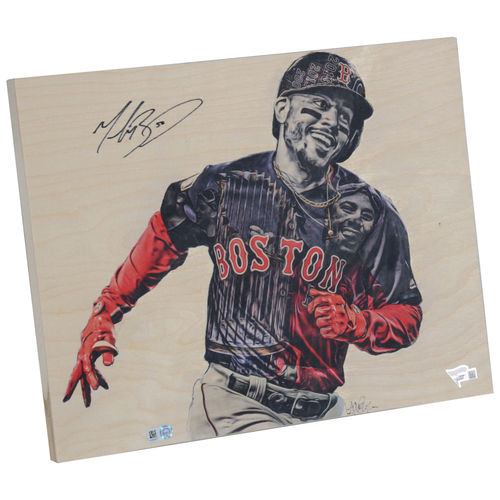 """Photo of Mookie Betts Boston Red Sox 2018 MLB World Series Champions Artist and Player Signed 11"""" x 14"""" Home Run Celebration Original Wood Panel - Lauren Taylor Illustrations"""