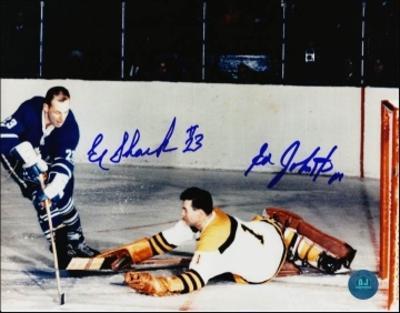 EDDIE SHACK Toronto Maple Leafs vs ED JOHNSTON Boston Bruins DUAL-SIGNED 8x10 Photo