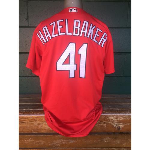 Cardinals Authentics: Jeremy Hazelbaker Red Batting Practice Jersey