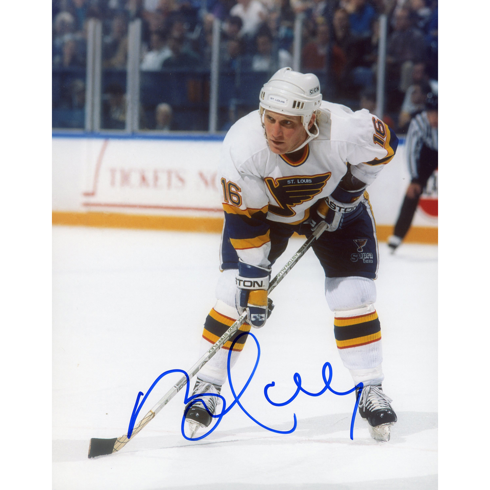 Brett Hull St. Louis Blues Autographed 8'' x 10'' Blues White Jersey Bent Photograph