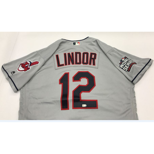 Francisco Lindor Team-Issued 2016 World Series Road Jersey