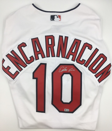 Photo of Edwin Encarnacion Autographed Authentic Indians Jersey