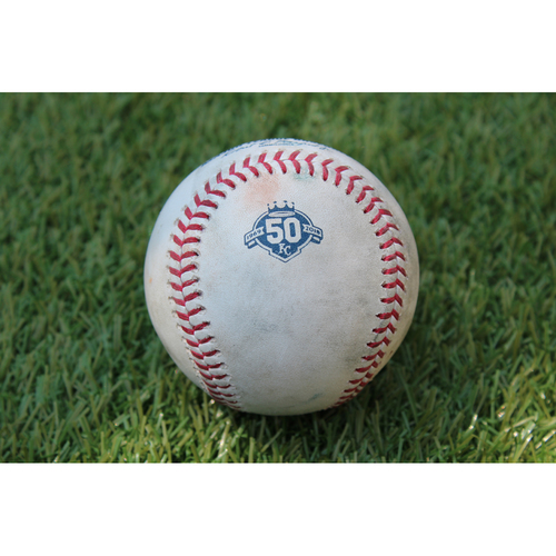 Photo of Game-Used Baseball: Strike Pitched to Mike Trout (LAA @ KC  - 6/25/18)