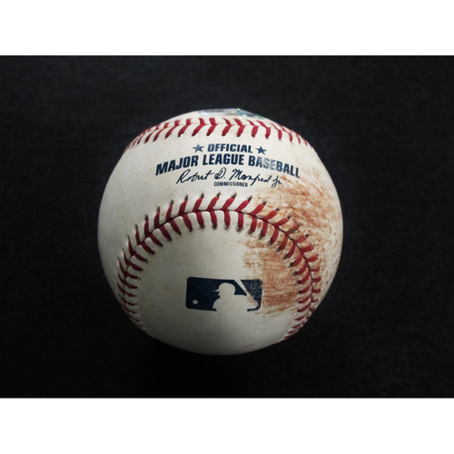 Photo of Game-Used Baseball Pitcher: Felix Hernandez, Batter: Jed Lowrie, Khris Davis (Strikeout, Ball) 9-26-2018