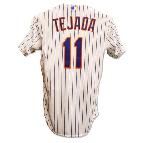 Photo of Ruben Tejada #11 - Team Issued White Pinstripe Jersey - 2015 Postseason