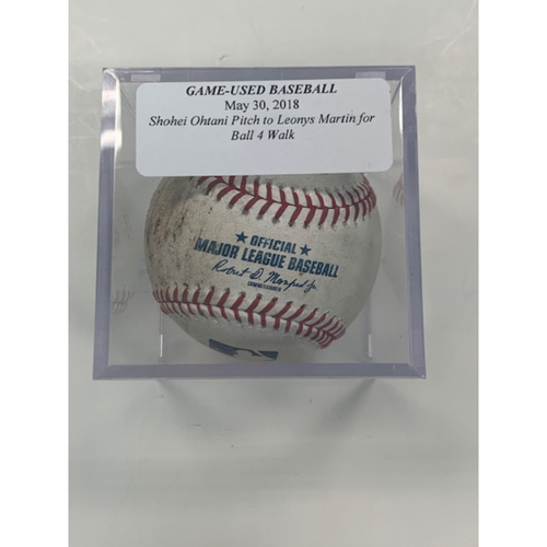 Photo of Game-Used Baseball: Shohei Ohtani to Leonys Martin Ball 4-Walk