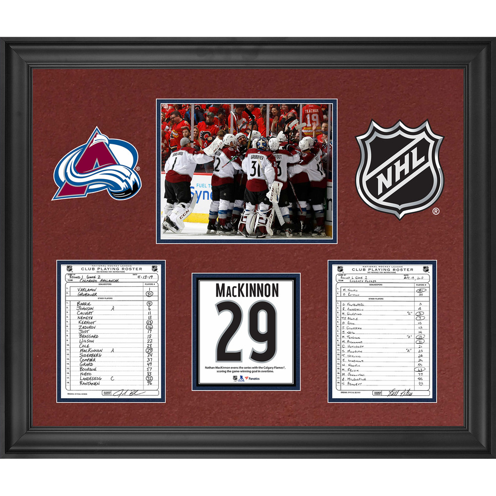 Colorado Avalanche Framed Original Line-Up Cards from April 13, 2019 vs. Calgary Flames - Nathan MacKinnon Tallies Overtime Winner During Round 1 of the 2019 Stanley Cup Playoffs