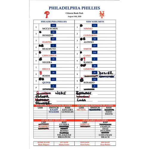 Photo of 2020 Phillies Game-Used Lineup Card - Alec Bohm 2nd Career Game - 8/14/20 vs NYM