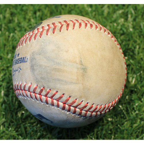 Photo of Game-Used Baseball: Brad Keller 261st Career Strikeout & Mike Trout 1395th Career Hit (LAA @ KC 4/14/21)