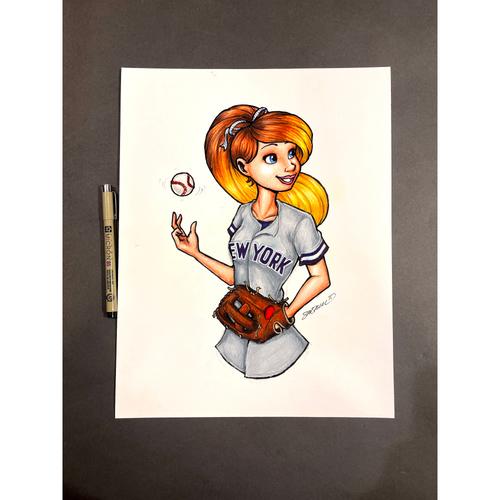 "Photo of New York Yankees Original Art - Ballpark Princess Konni Mackenzie ""She Can Play"" by artist S. Preston"