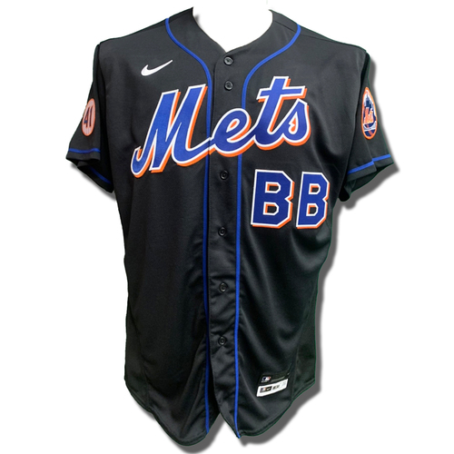 Photo of Bat Boy #BB - Team Issued Black Jersey with Seaver Patch - 2021 Season