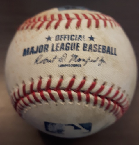Photo of Authenticated Game Used Baseball - June 13, 2017: Single by Logan Morrison against Jeff Beliveau (Top 7)