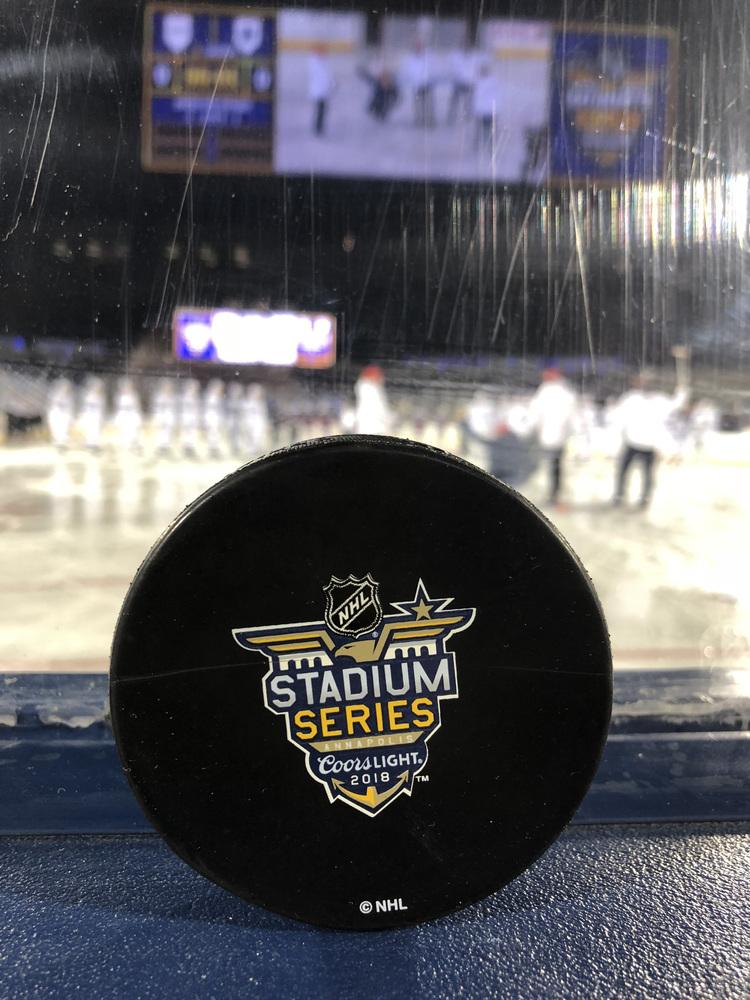 2018 NHL Stadium Series Washington Capitals vs. Toronto Maple Leafs Warm Up-Used Puck