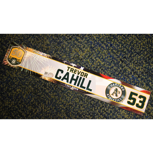 Photo of Oakland Athletics Trevor Cahill Team-Issued 4th of July 2018 Locker Nameplate