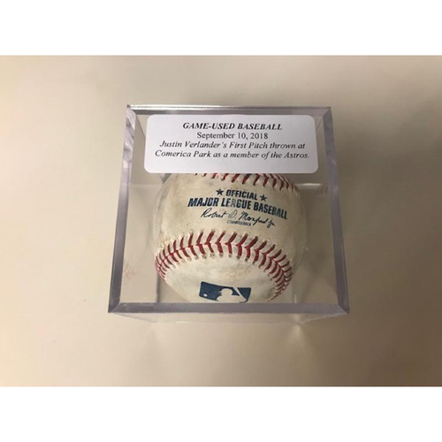 Photo of Game-Used Baseball: Justin Verlander's 1st Pitch at Comerica Park as Member of Astros
