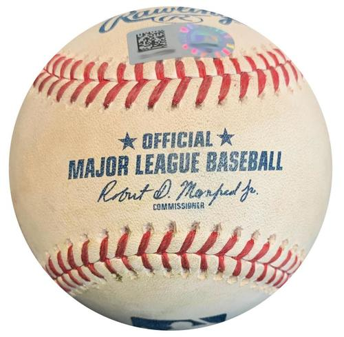 Photo of Game-Used Baseball from Pirates vs. Brewers on 7/14/18 DH Game 2 - Yelich Walk, Aguilar K, Shaw Single