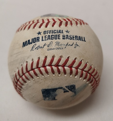 Photo of Authenticated Game Used Baseball - Teoscar Hernandez Double against Miguel Castro (June 7, 2018 vs BAL). Bottom 10.