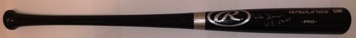 "Photo of Mike Shannon Autographed ""WS 64/67"" Black Rawlings Bat"