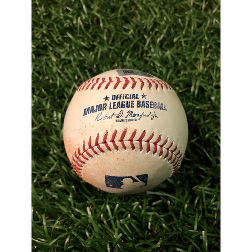 Photo of Game Used Baseball: D.J. LeMahieu single and Aaron Judge grounds into double play off Emilio Pagan - July 5, 2019 v NYY
