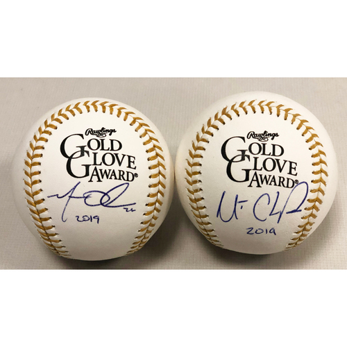 Photo of Matt Chapman and Matt Olson Autographed Rawlings 2019 Gold Glove Baseballs