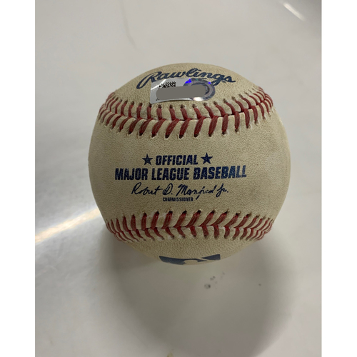 Photo of Game Used Baseball - 8/12/20 - Batter: Cesar Hernandez, Pitcher: Kyle Hendricks - Single to left (Kris Bryant trap play overturned)