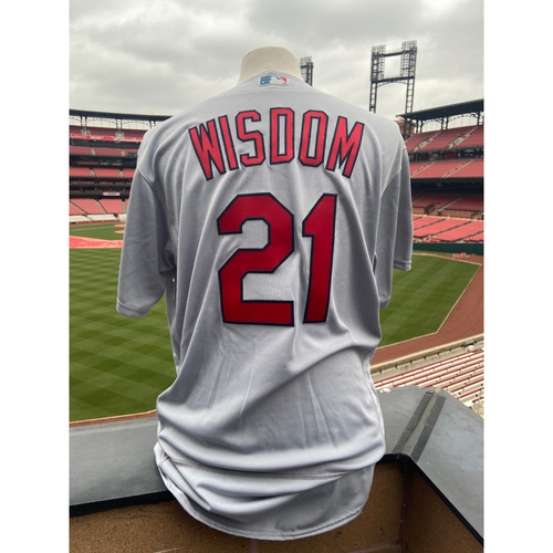 Photo of Cardinals Authentics: Team Issued Patrick Wisdom Road Grey Jersey