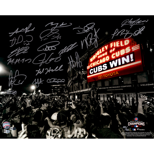 """Photo of Chicago Cubs 2016 MLB World Series Champions Team Signed 16"""" x 20"""" Wrigley Field Cubs Win Photograph with 20 Signatures - #16 of a Limited Edition of 50"""