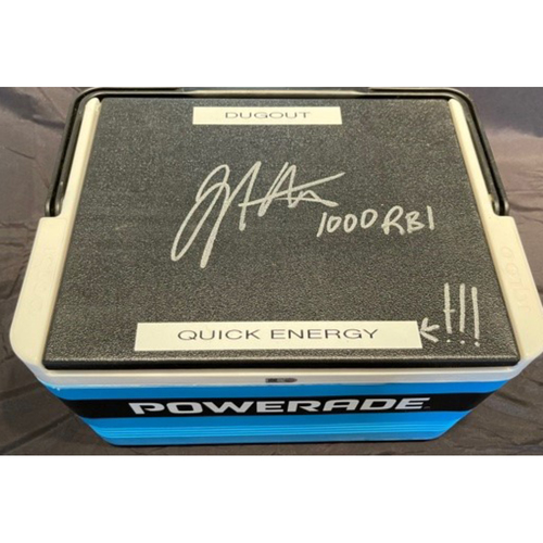 Photo of Joey Votto *Autographed & Inscribed* Powerade Cooler From Reds Dugout During Joey Votto 1,000th Career RBI Game -- SD vs. CIN on 06/30/2021