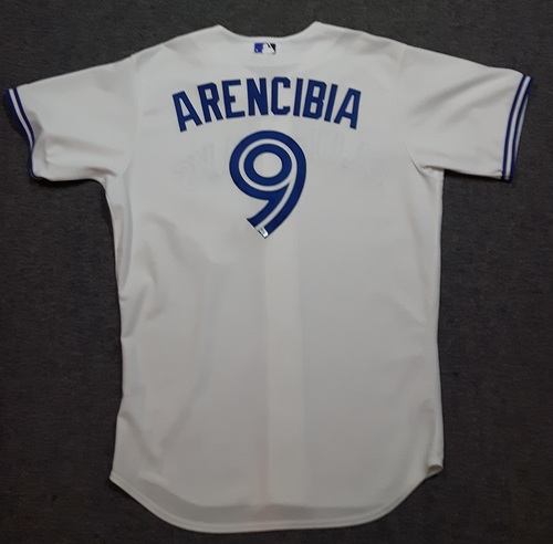 Photo of Authenticated Game Used Jersey - #9 J.P. Arencibia (September 12, 2012). Arencibia went 0-for-3. Size 48
