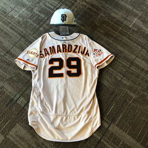 Photo of San Francisco Giants - Team Issued Father's Day Blue Ribbon Jersey + Cap - #29 Jeff Samardzija (size 50 - cap 7 3/8)