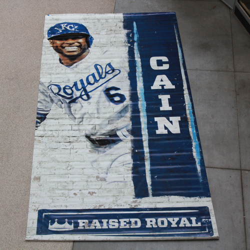 Photo of Extra Large Team-Issued Banner: Lorenzo Cain Raised Royal