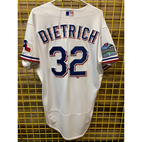 Photo of Derek Dietrich Team-Issued White Jersey From 2019 Season With Inaugural Season Patch