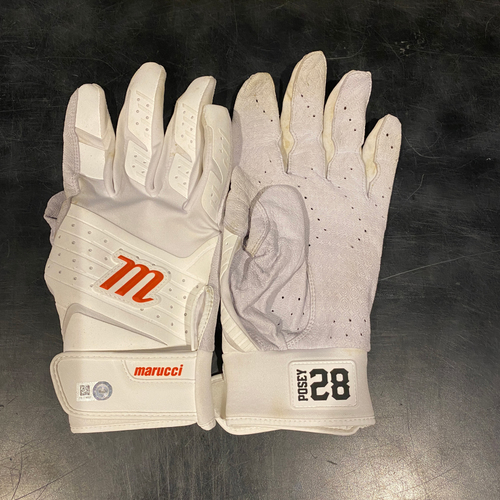 Photo of 2021 Team Issued White & Orange Marucci Batting Gloves (Pair) - #28 Buster Posey