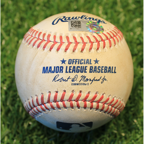 Photo of Game-Used Baseball: Isaiah Kiner-Falefa 13th Career Hit By Pitch (TEX @ KC 4/4/21)