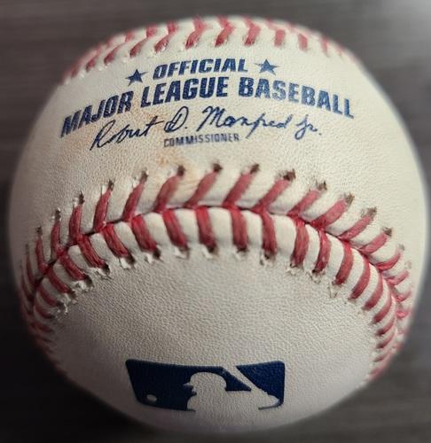 Photo of Authenticated Game Used Baseball: RBI Single by Teoscar Hernandez against Matt Harvey (Sep 1, 2021 vs BAL). Bottom 4.