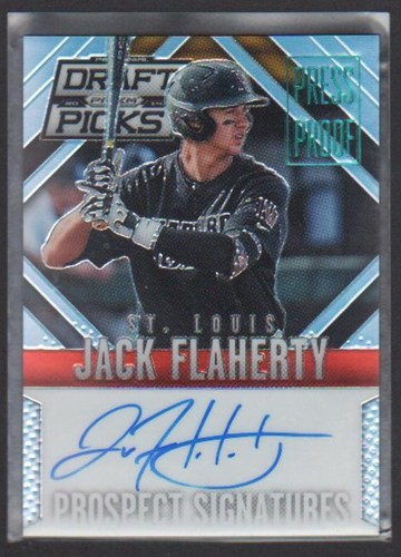 Photo of 2014 Panini Prizm Perennial Draft Picks Prospect Signatures Prizms Press Proof #34 Jack Flaherty