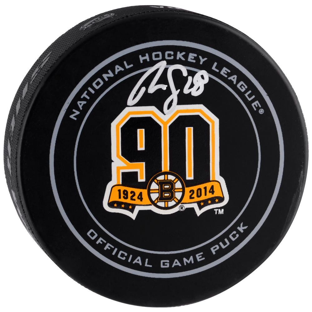 Reilly Smith Boston Bruins Autographed 90th Anniversary Official Game Puck