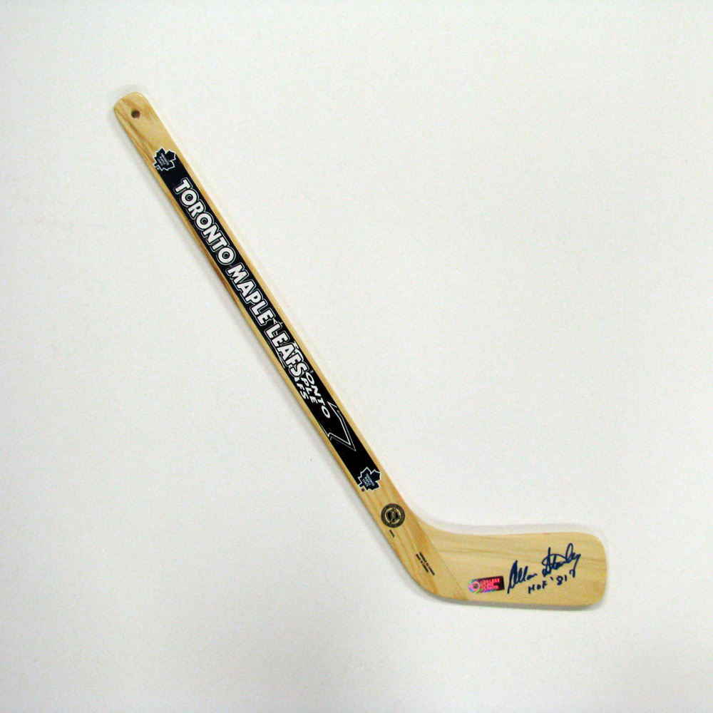 ALLAN STANLEY Signed Mini Stick with HOF Inscription - Toronto Maple Leafs