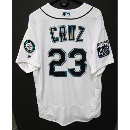 Photo of Nelson Cruz Team-Issued White Jersey - 7-28-2017 - Size 50