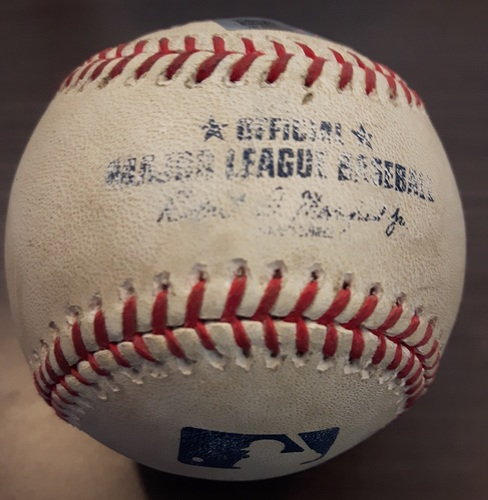 Photo of Authenticated Game Used Baseball - July 2, 2017: Singles by Hanley Ramirez and Jackie Bradley Jr. against Glenn Sparkman (Top 7)