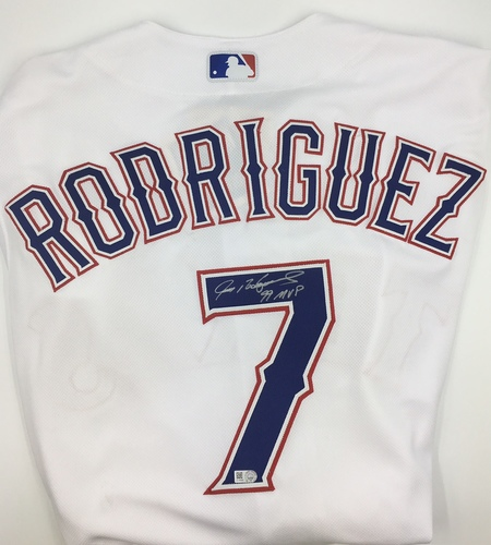 "Photo of Ivan Rodriguez ""99 MVP"" Autographed Authentic Rangers Jersey"