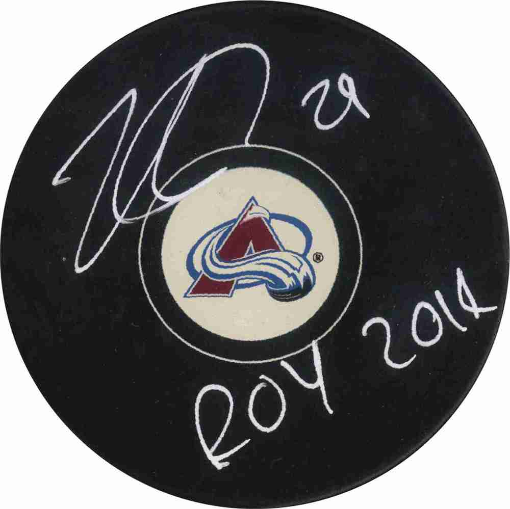 Nathan Mackinnon - Signed Puck - Avalanche Inscribed