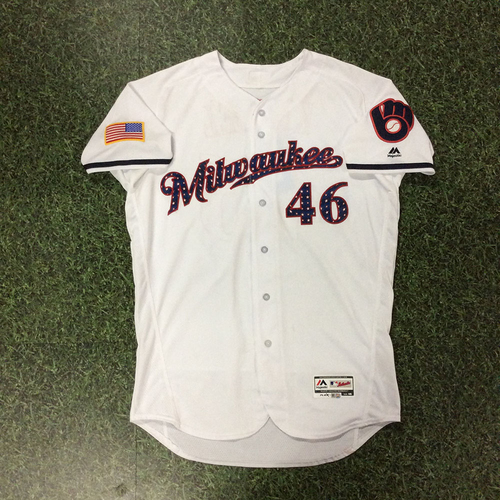 Photo of Corey Knebel Game-Used 2018 Stars & Stripes Jersey - Winning Pitcher (7/2/18), 9th Save (7/3/18), & 10th Save (7/4/18)