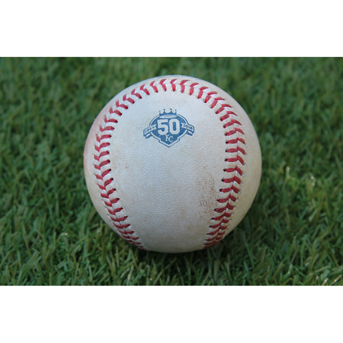 Photo of Game-Used Baseball: J.D. Martinez 912th Career Hit and 550th Career RBI (BOS @ KC - 7/7/18)
