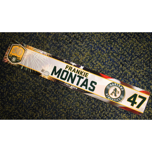 Photo of Oakland Athletics Frankie Montas Team-Issued 4th of July 2018 Locker Nameplate
